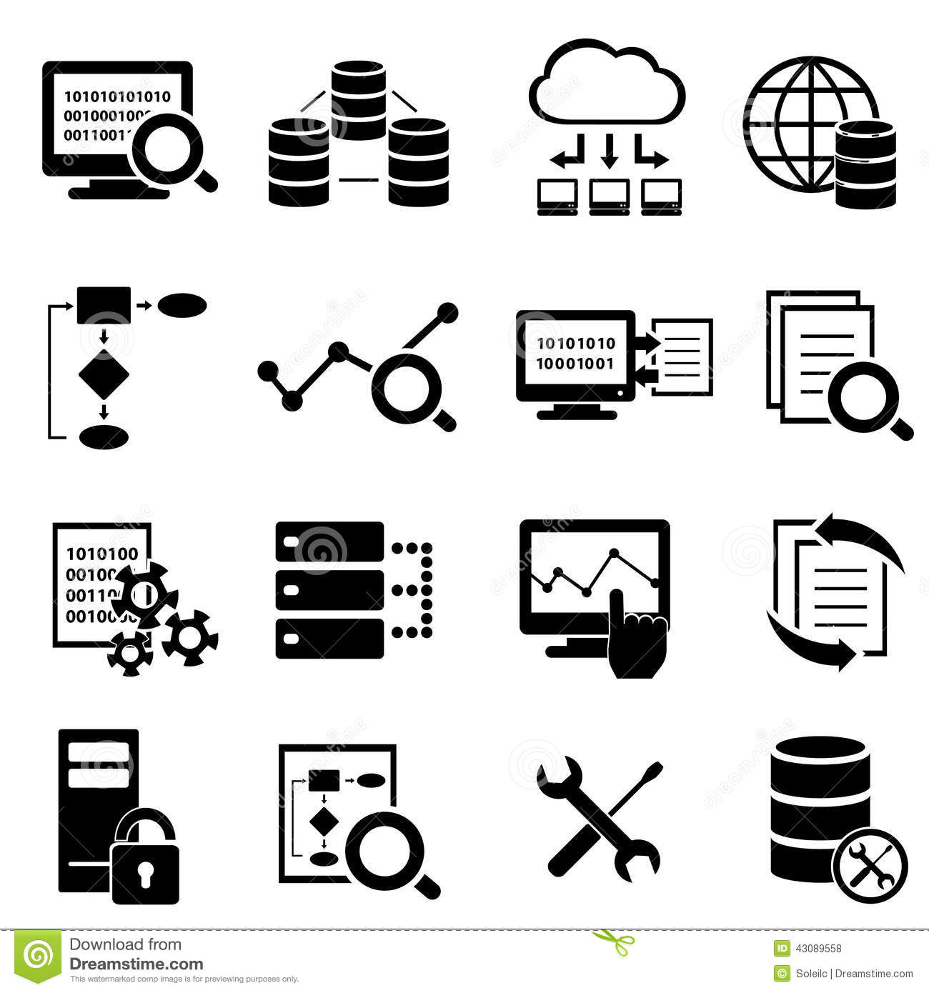 Big Data Cloud Computing And Technology Icons Stock