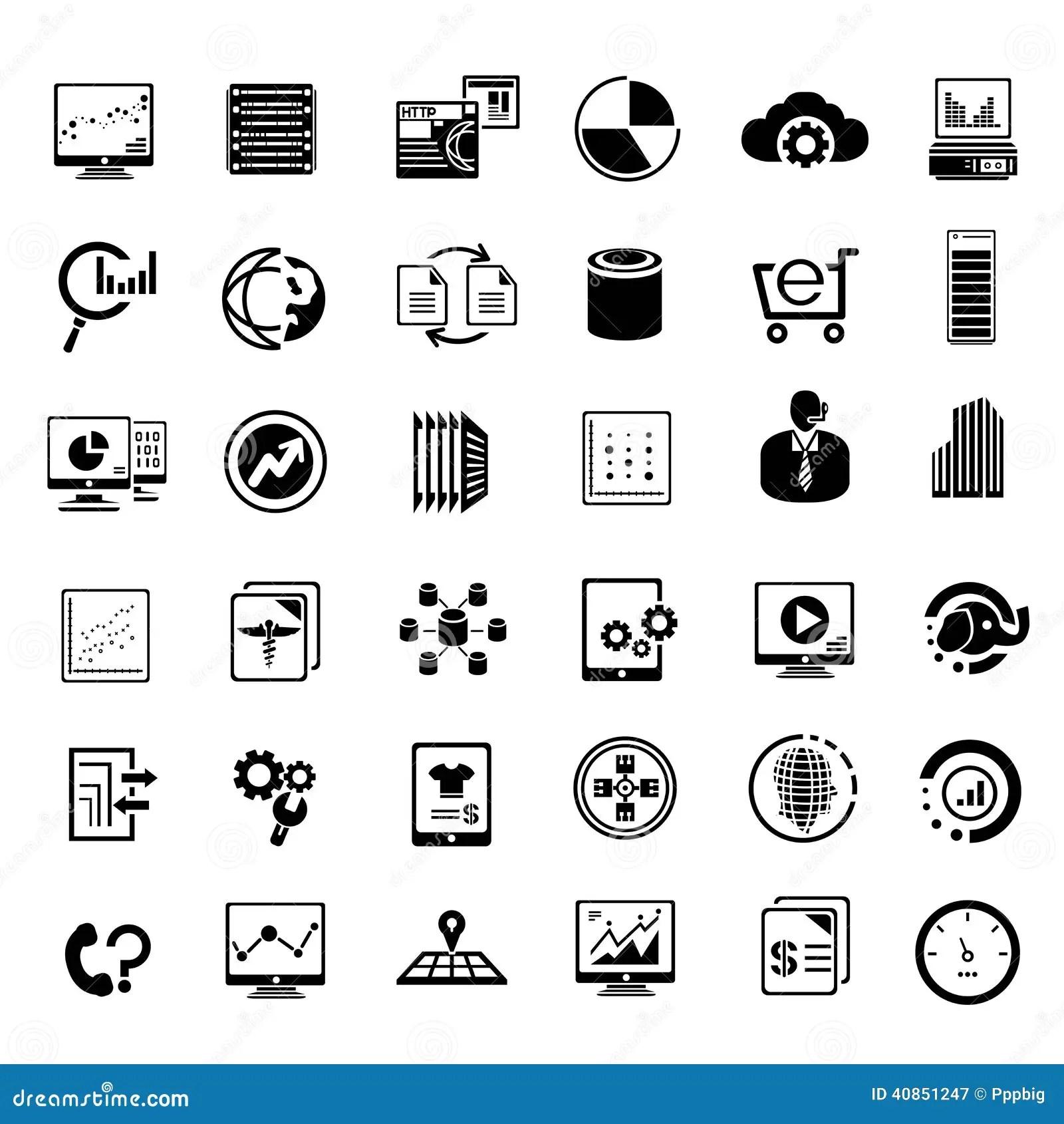 Big Data And Dataytics Icons Stock Illustration
