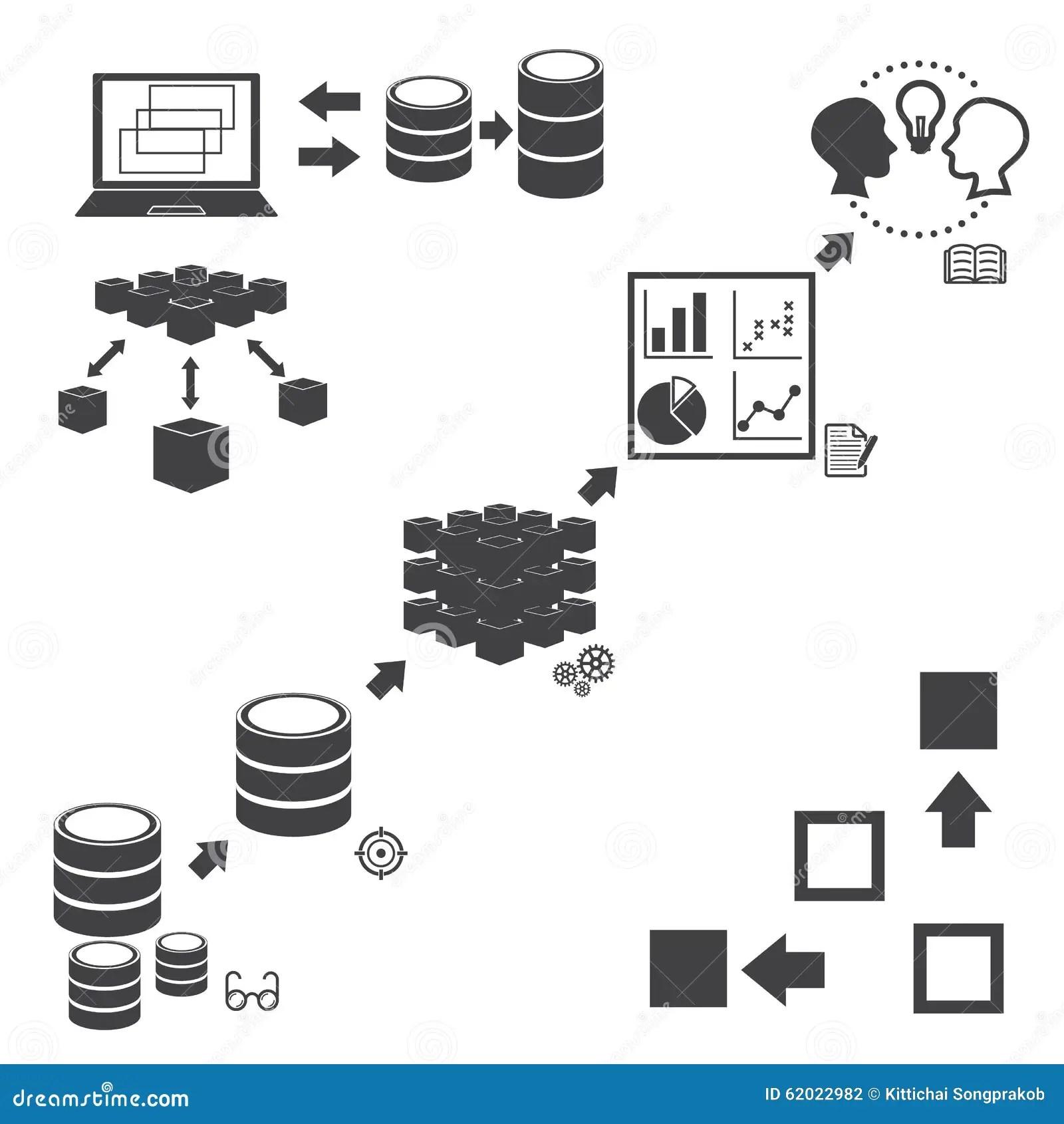 Big Data Icons Set Data Mining Concept Stock Vector