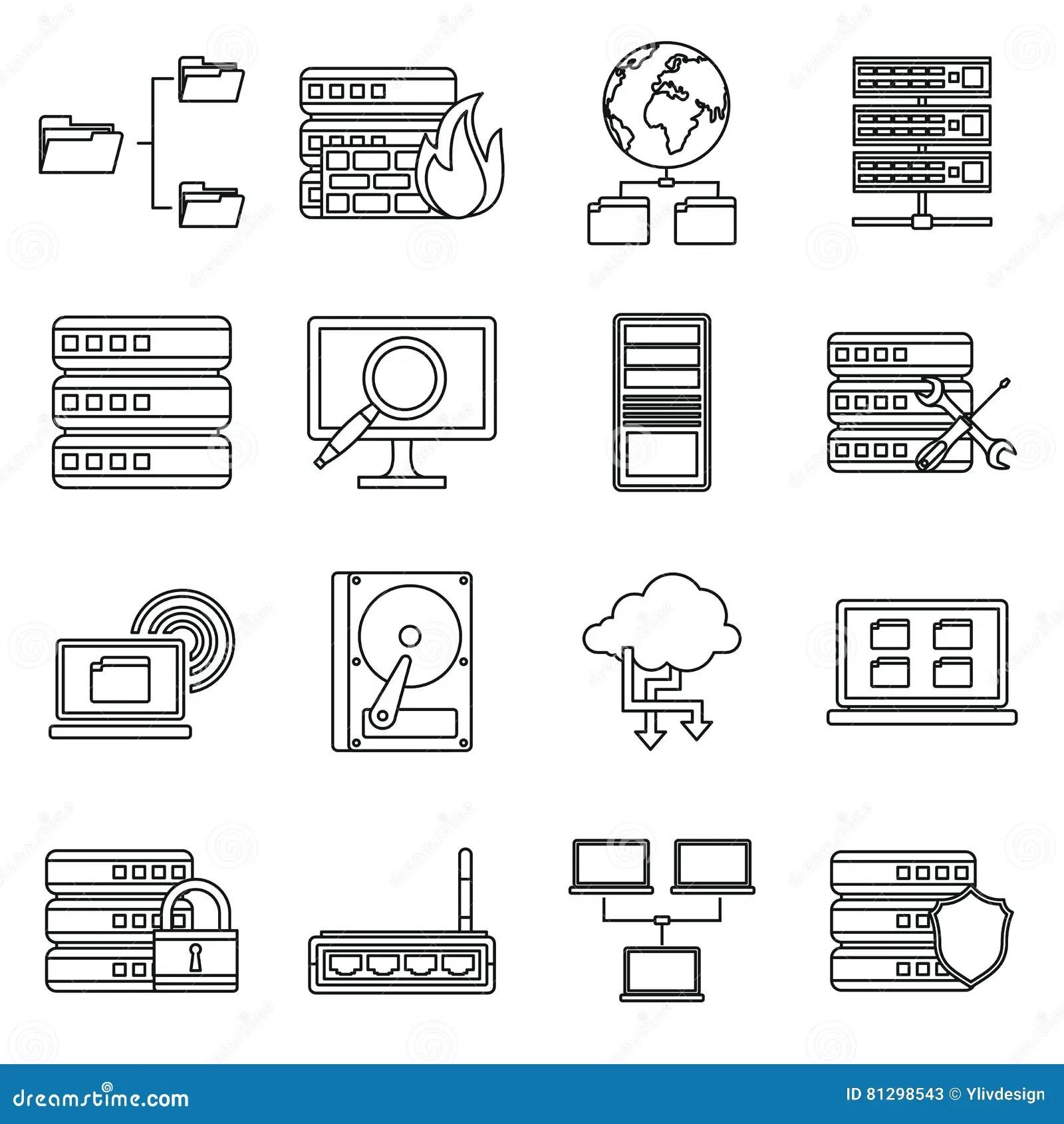 Server Big Data Icon Set Cartoon Vector