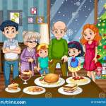 A Big Family At The Dining Table Stock Vector Illustration Of Drawing Clipart 127665739