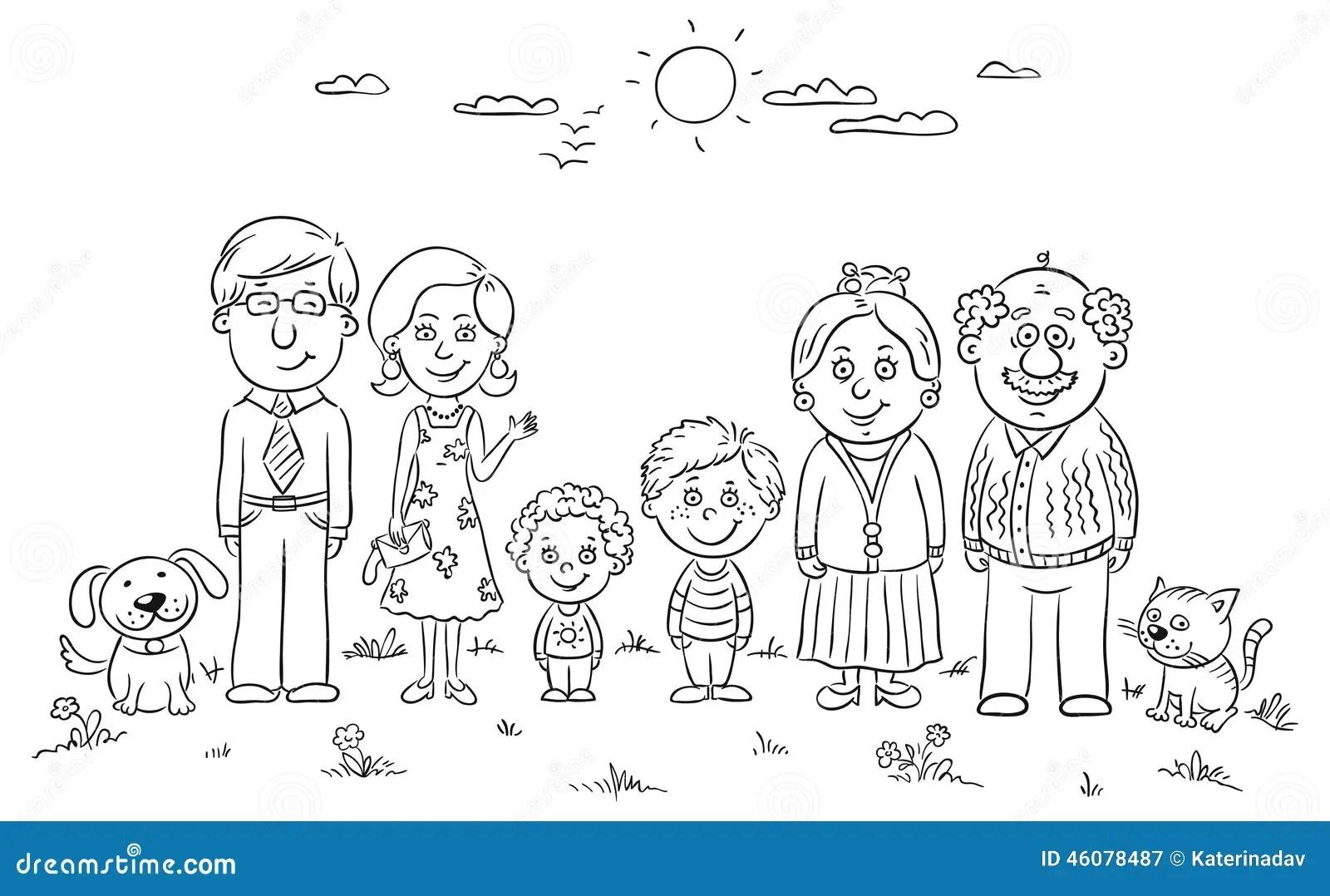 Big Happy Family Stock Vector Illustration Of View Black
