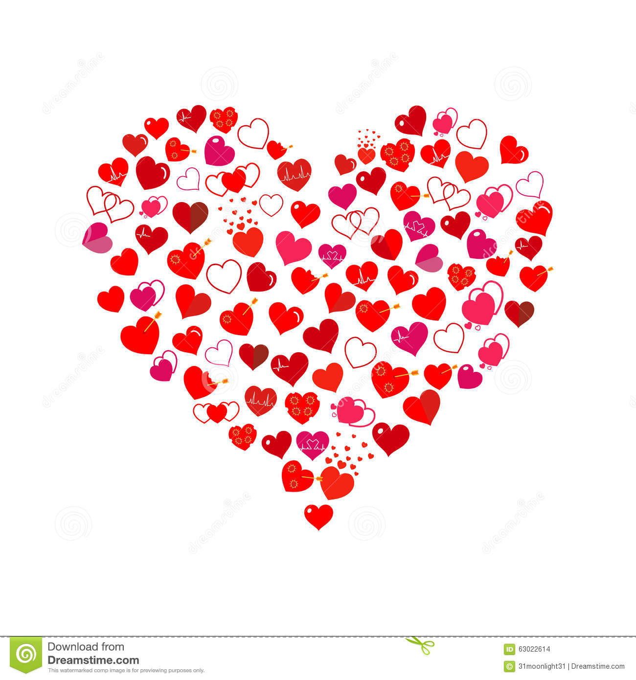 Big Heart Made Of Small Hearts Flat Design Stock Vector