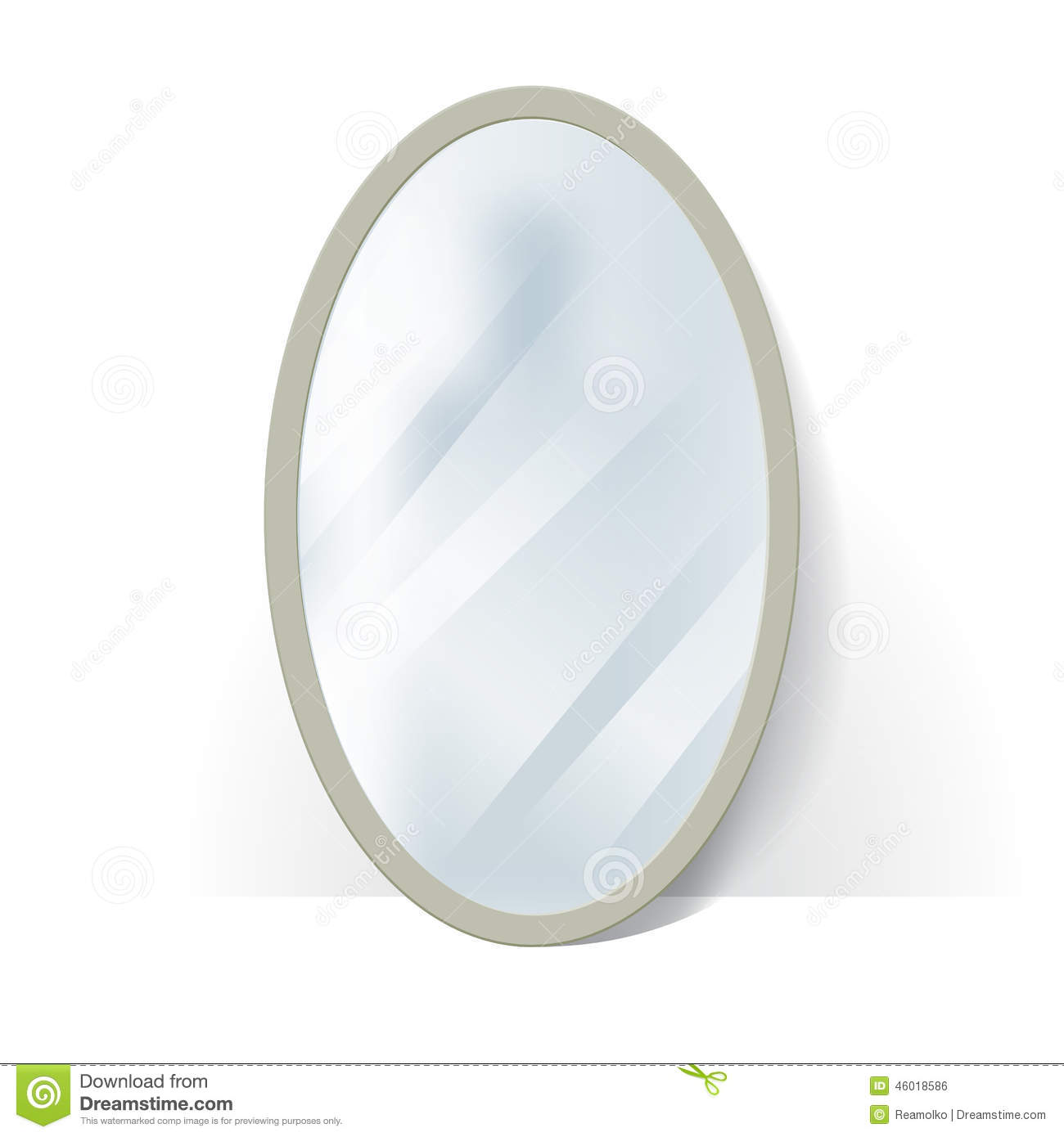 Big Oval Mirror With Blurry Reflection Stock Vector