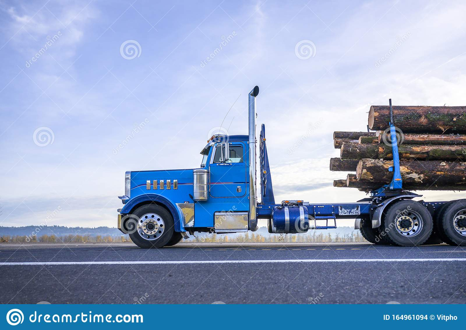 https www dreamstime com big rig classic powerful american blue day cab semi truck vertical chrome exhaust pipes transporting cut trees wood logs image164961094