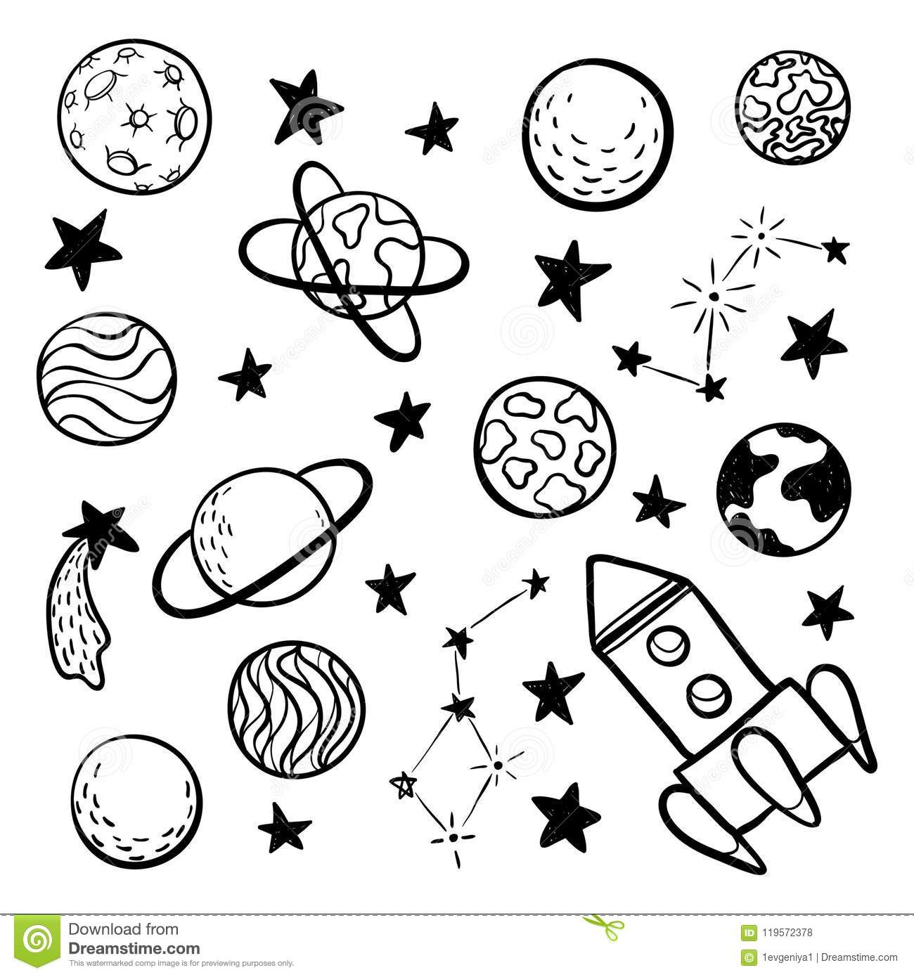 Big Set Of Hand Drawn Doodle Space Elements Space Rocket