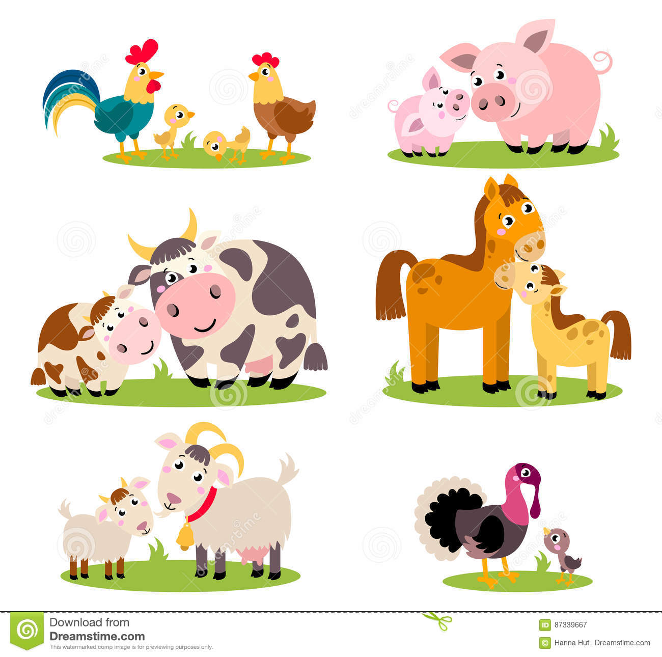 Big Set Isolated Farm Birds Animals Vector Collection