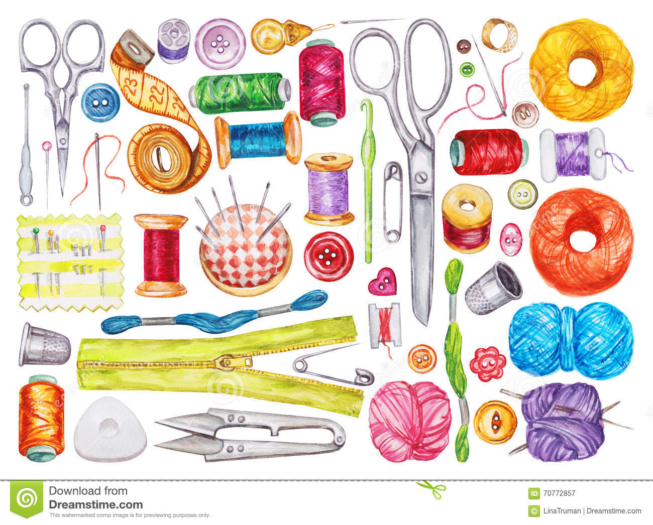 Watercolor Sewing Tools Stock Illustrations 123