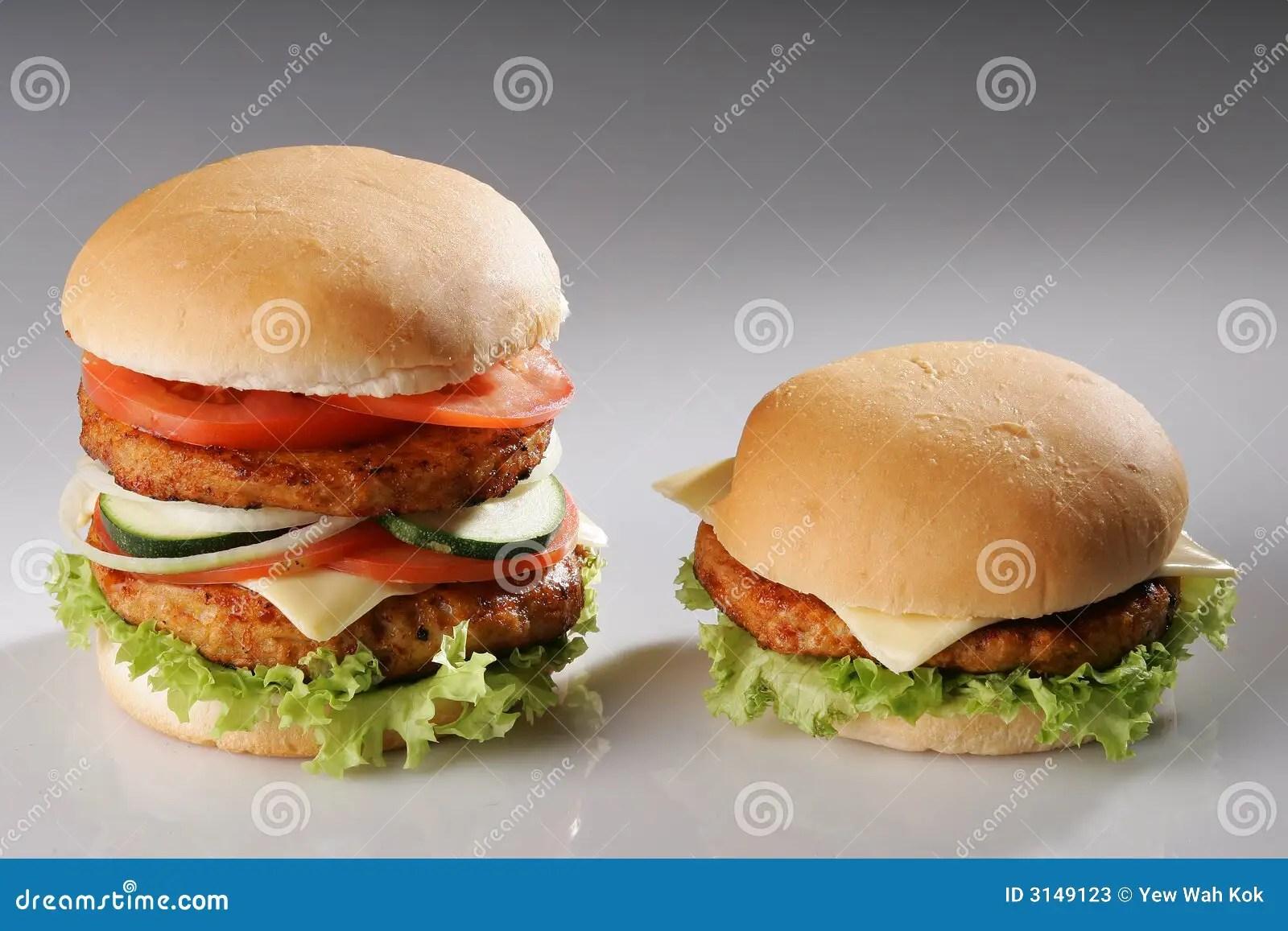 Big And Small Burger Stock Photos