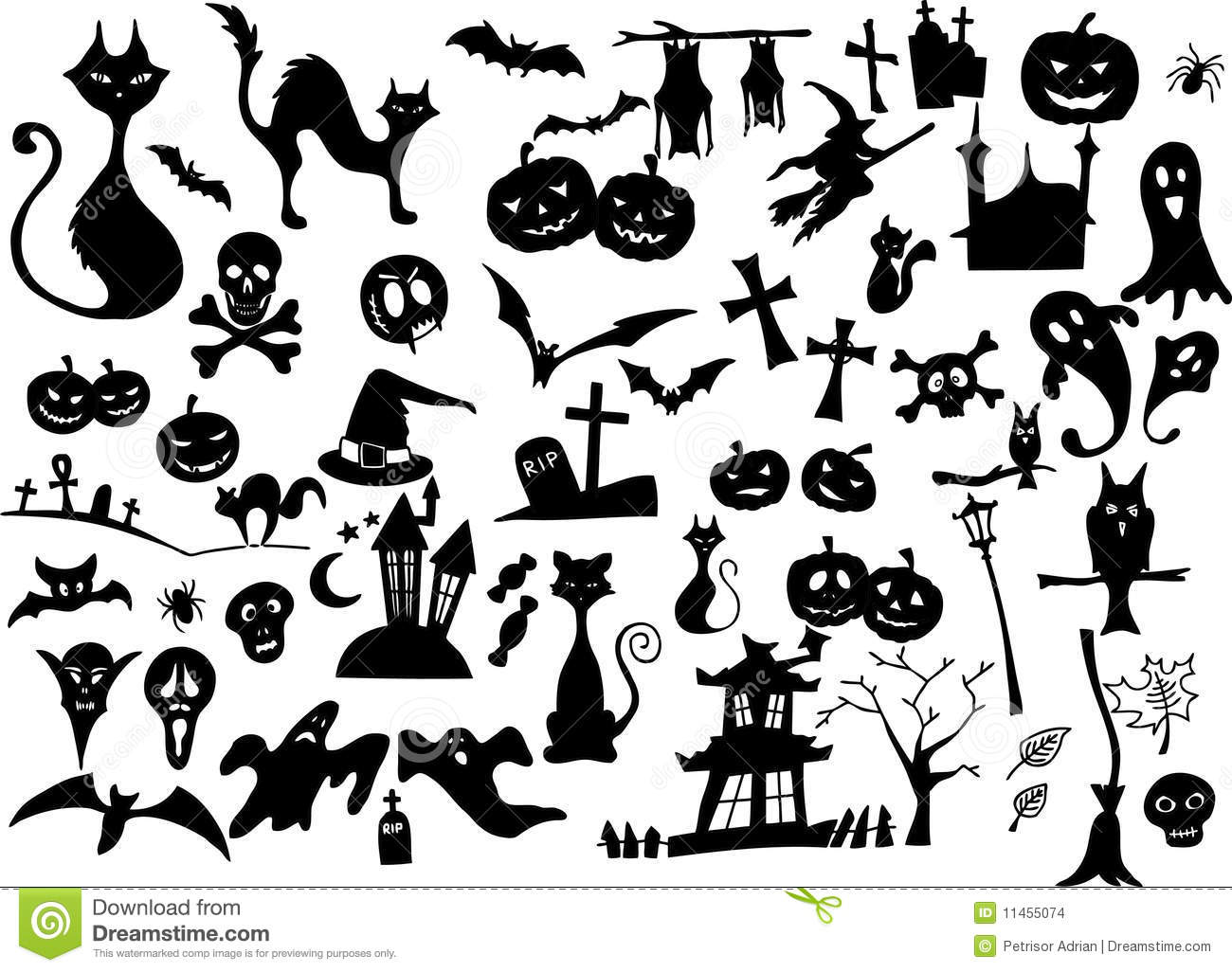 Big Vector Collection Of Halloween Silhouettes Stock