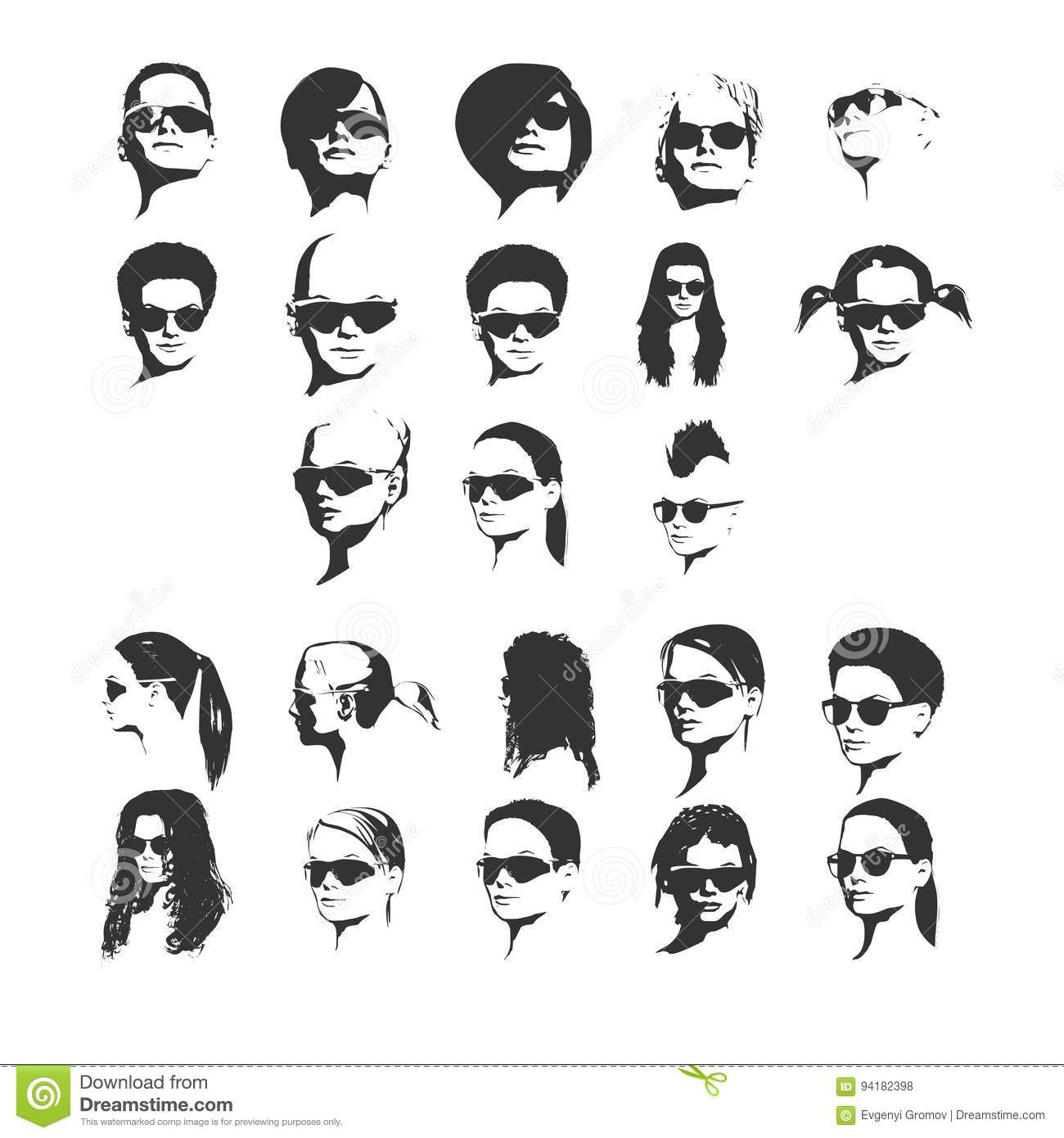 Young People Fashion Big Group Faces Vector Illustration