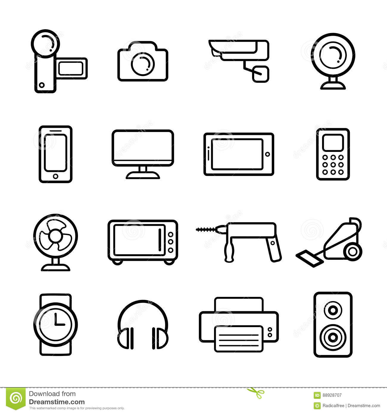Line Art Household Cleaning Symbols Accessories Cartoon