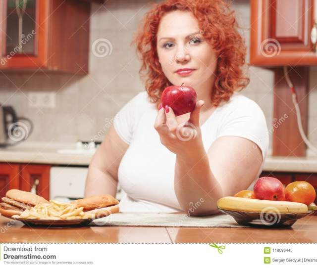 Big Woman Eat Fast Food Red Hair Fat Girl With Burger Potato A