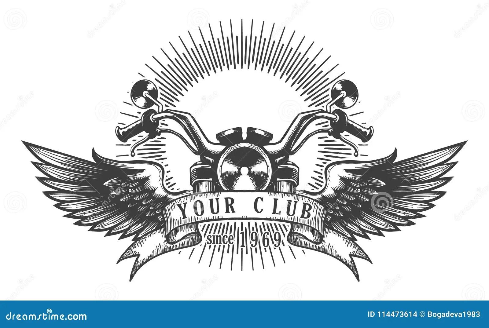 Biker Club Retro Emblem Stock Illustration Illustration