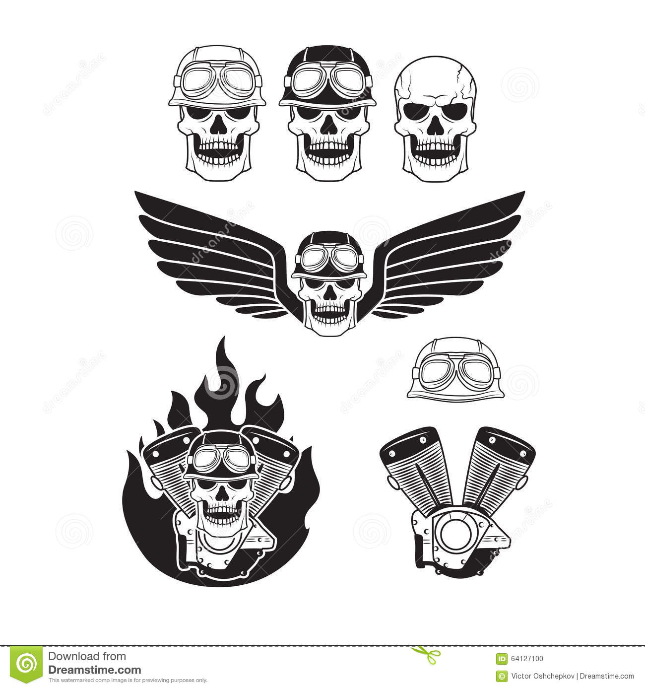Biker Skulls Set Stock Vector