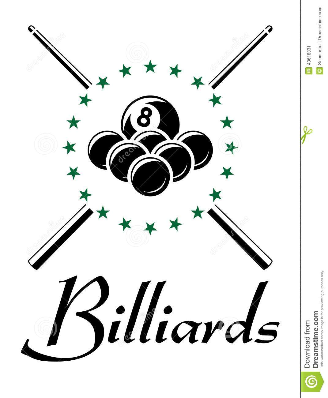 Billiards And Snooker Sports Emblem Stock Vector