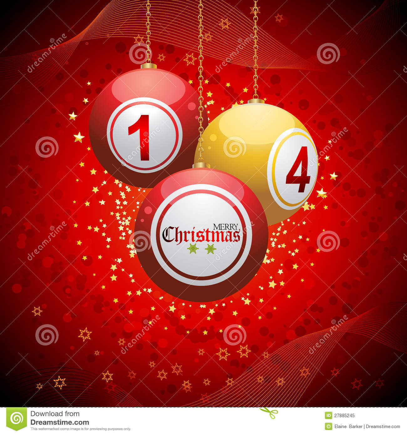 Bingo Ball Christmas Background Red Royalty Free Stock