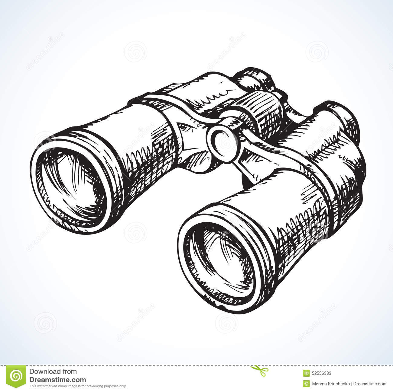 Binoculars Vector Drawing Stock Vector Illustration Of
