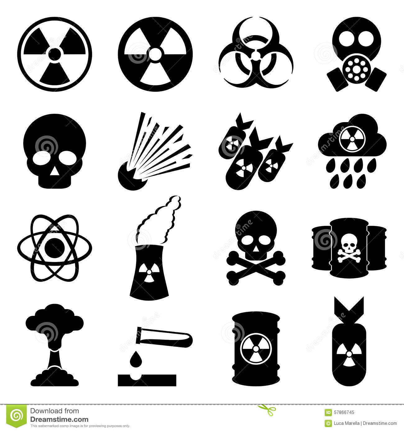 Biohazard And Nuclear Icon Set Stock Vector