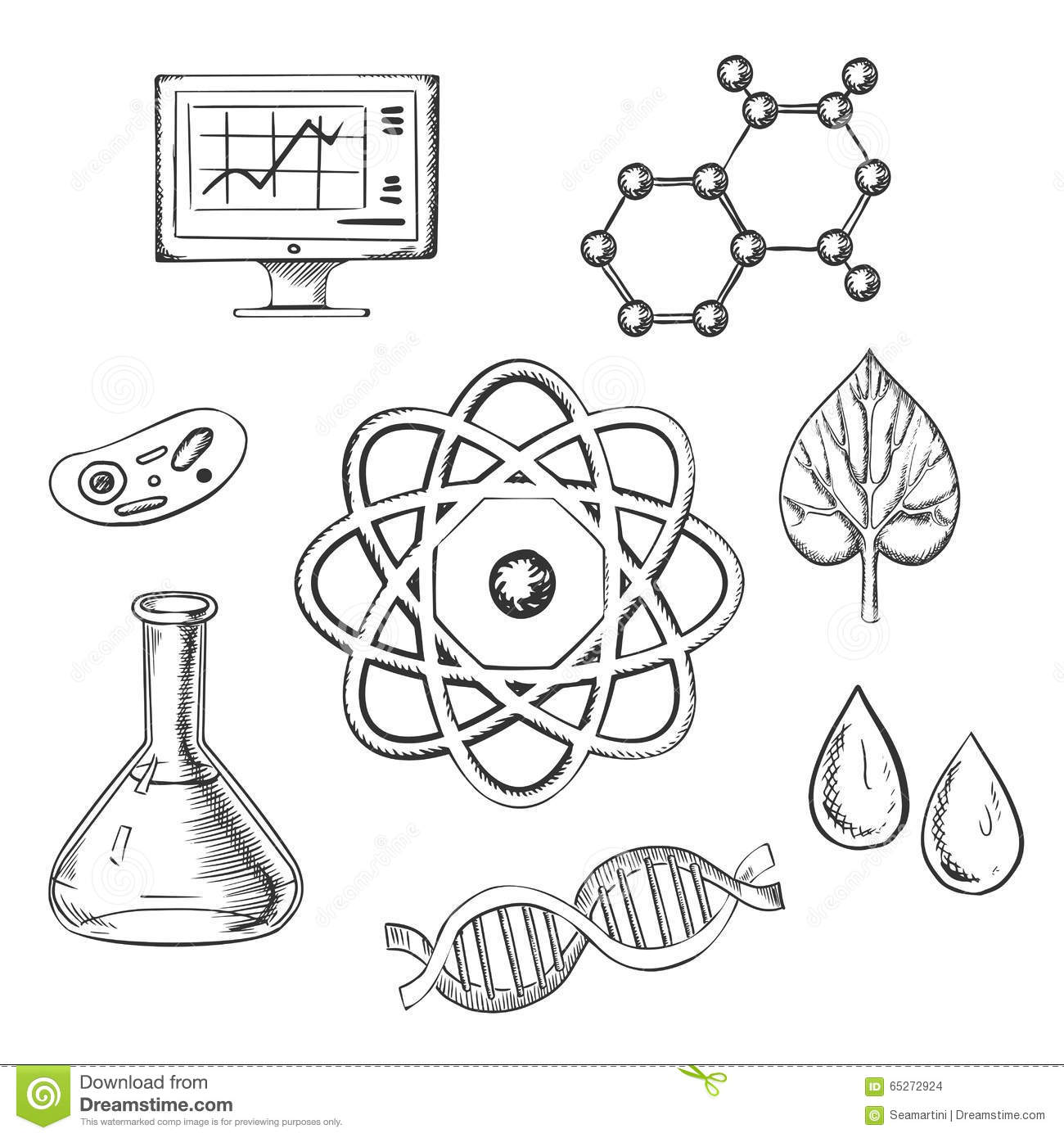 Biology And Chemistry Sketch Icons Stock Vector