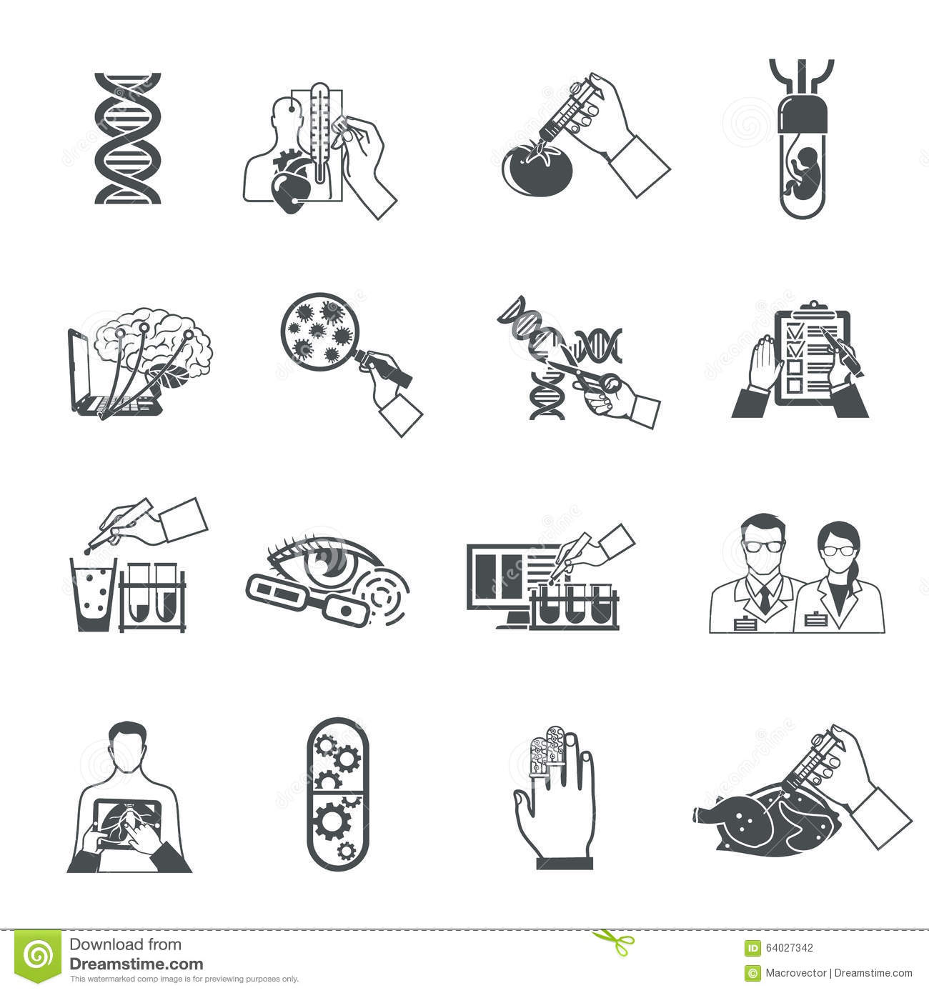 Biotechnology Black Icons Set Stock Vector