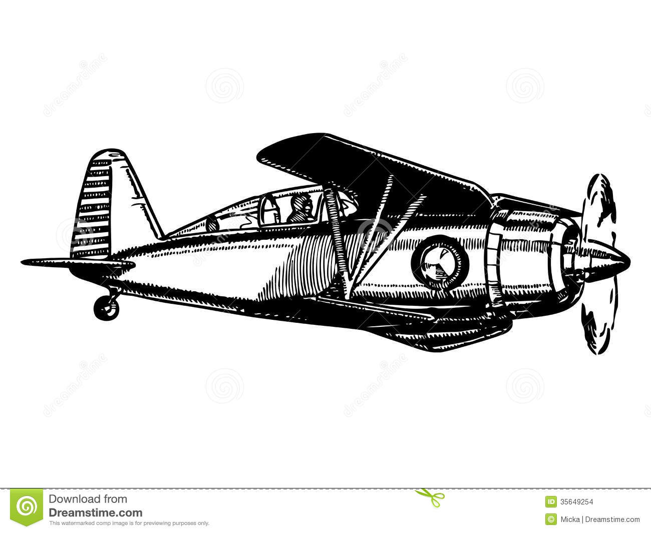 Biplane Aircraft In Flight Stock Vector Illustration Of