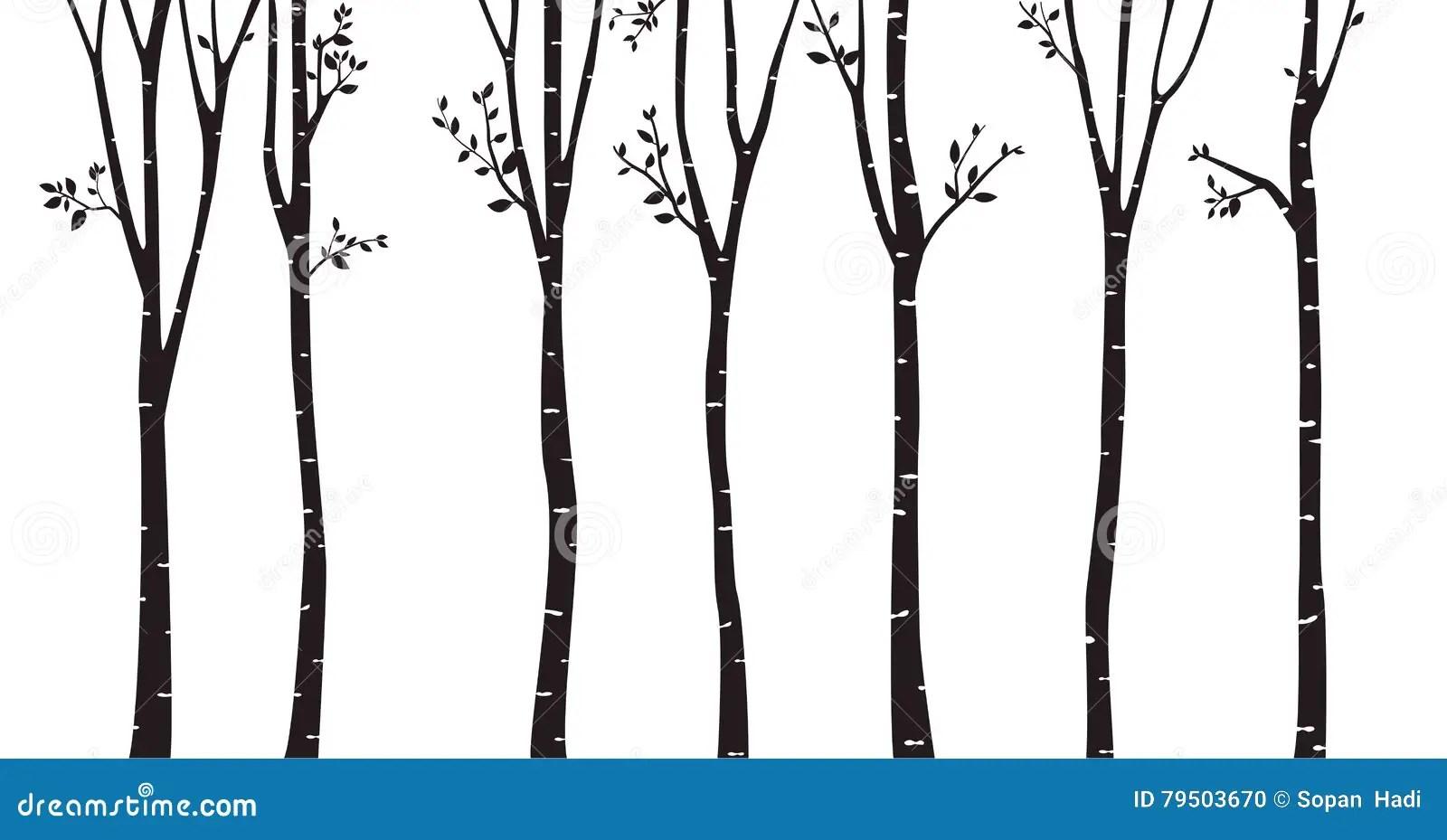 Birch Tree Silhouette Background Stock Vector