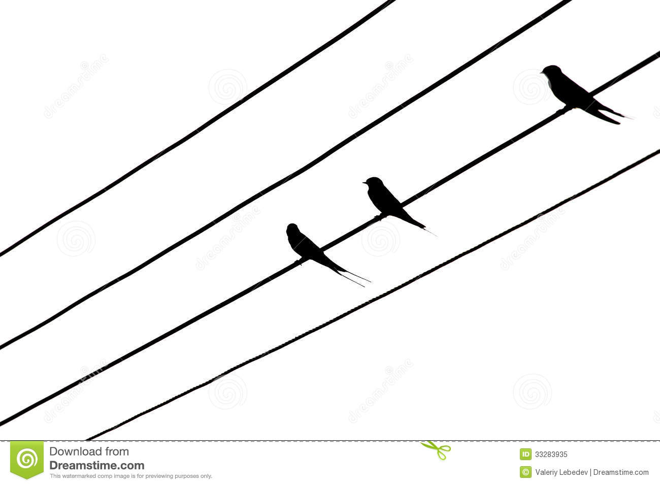 Bird On The Electric Wires Royalty Free Stock Photo
