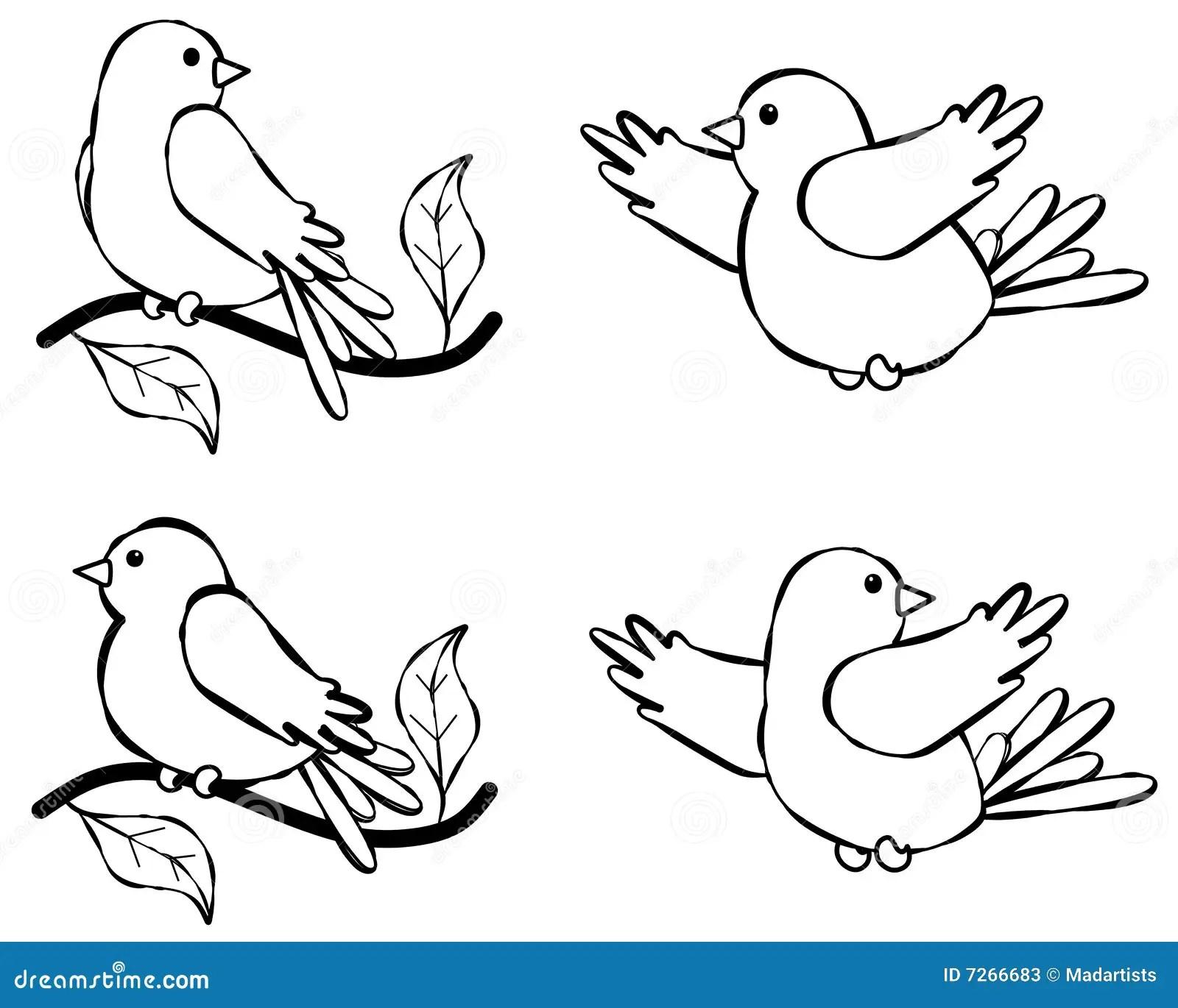 Bird Line Art Illustration 2 Stock Photos