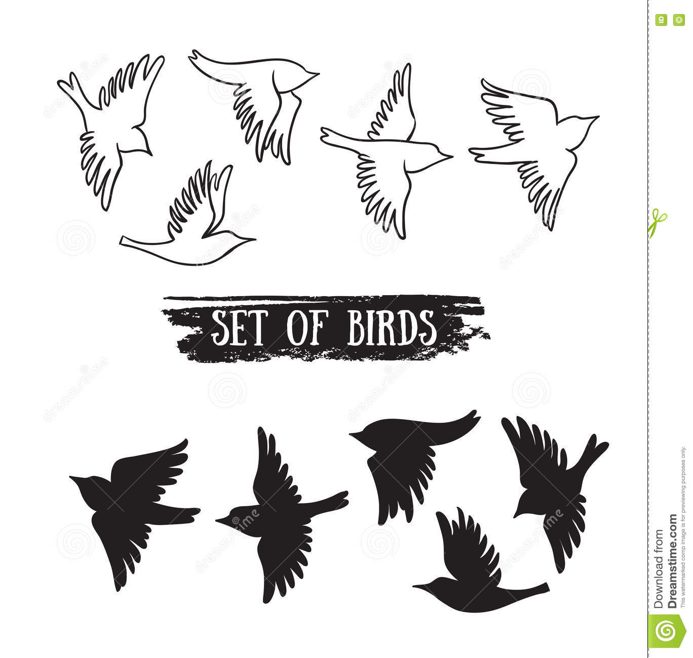 Birds Flying In The Skyctor Black Icons Stock Vector