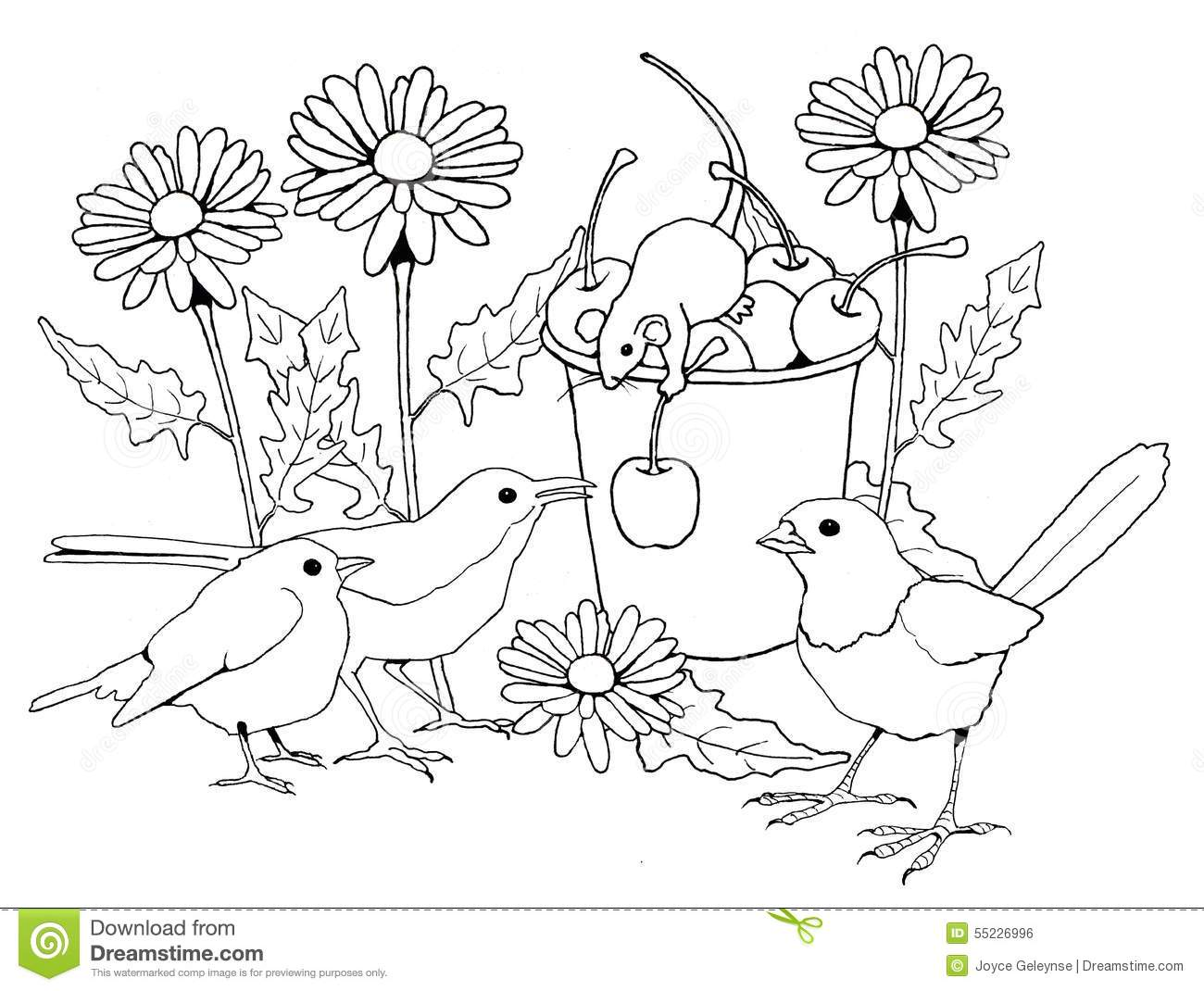 Birds And Mice With Flowers Coloring Page Stock
