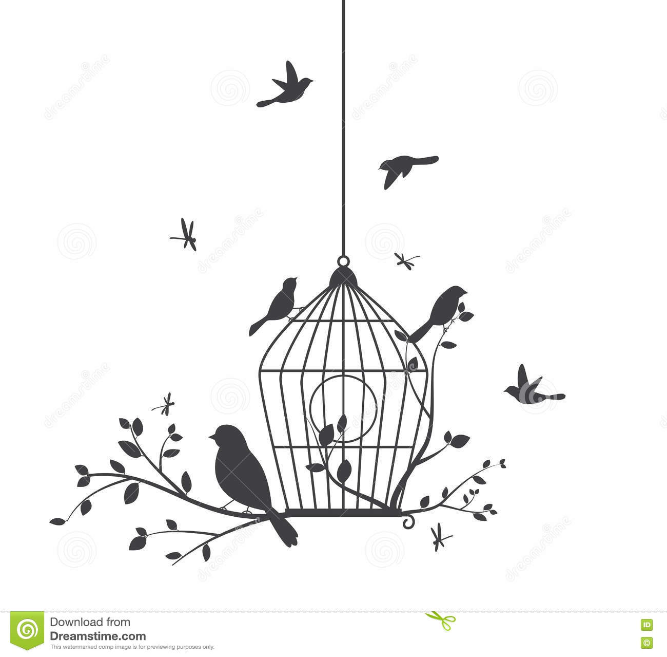 Birds Silhouette With Tree And Birdcage Stock Vector
