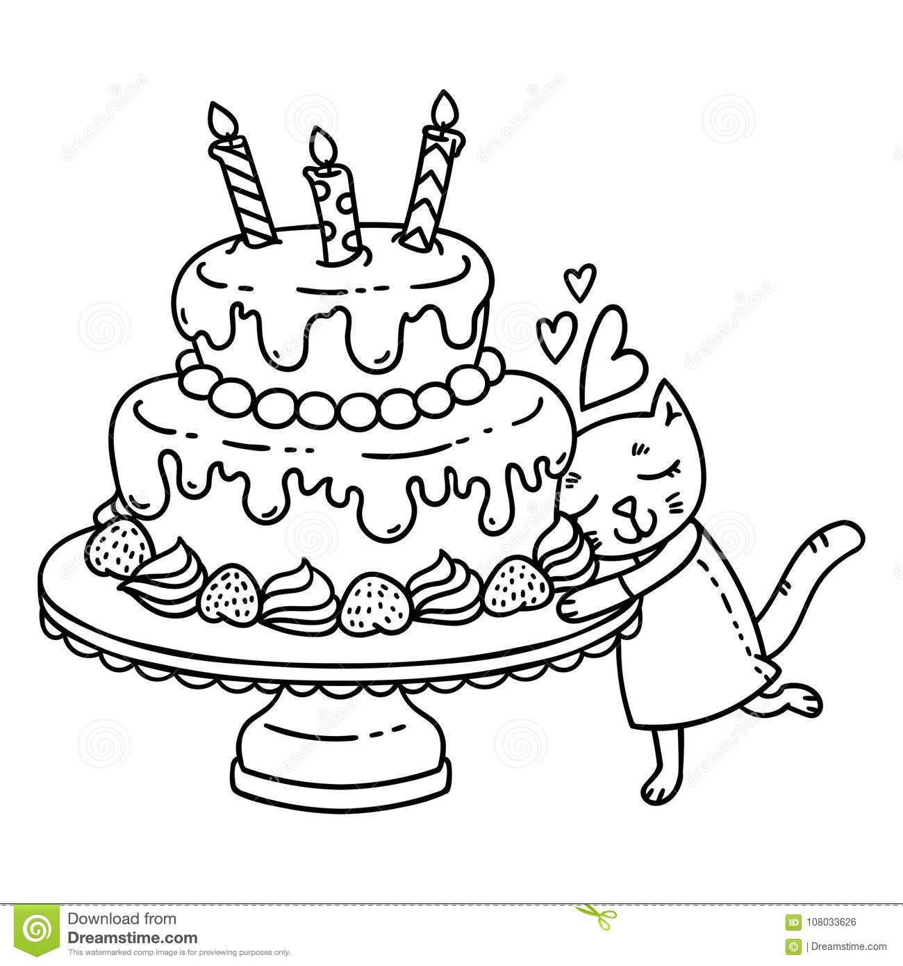 Birthday Cake With Candle And Cute Cat Isolated Objects