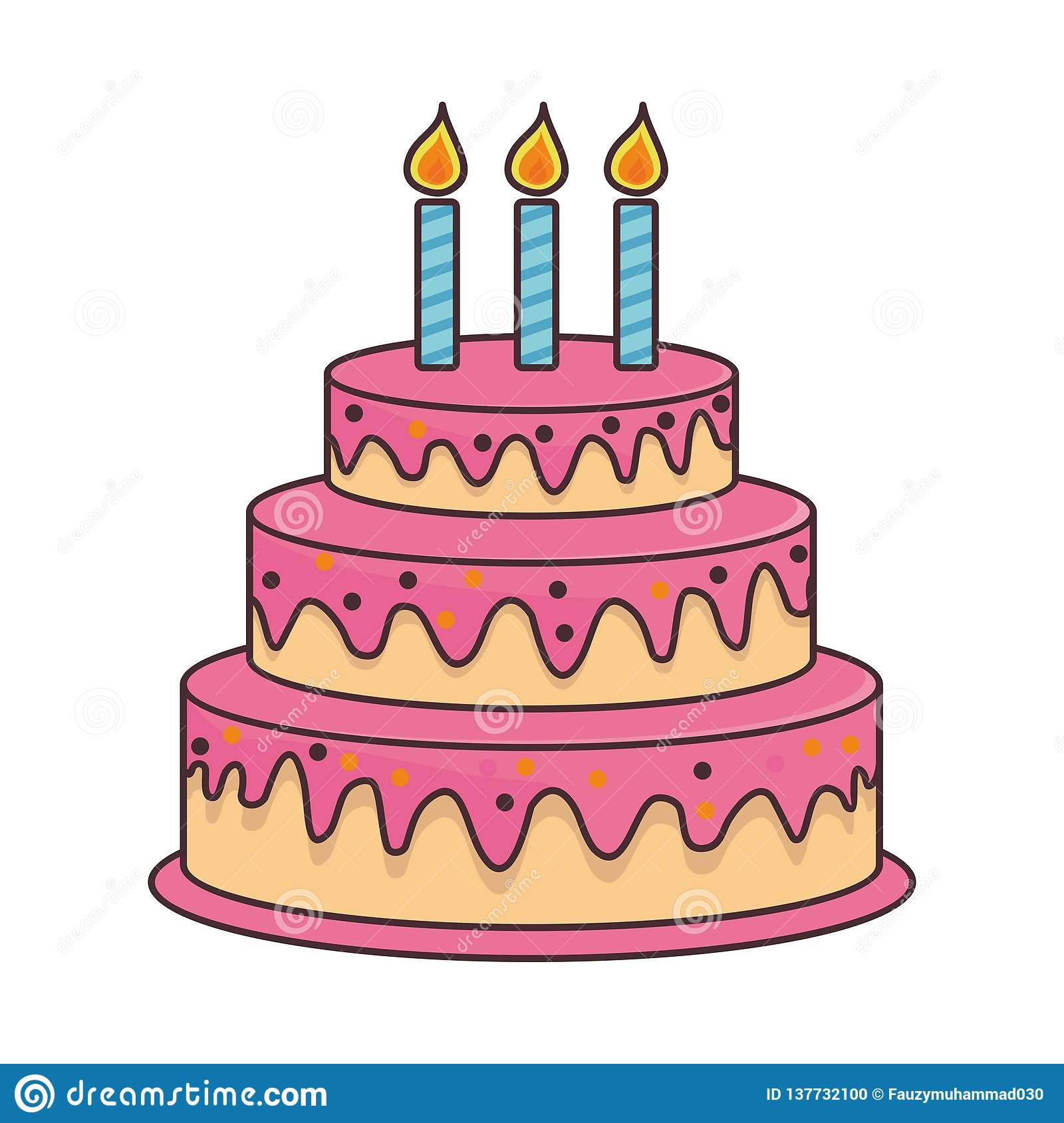 Birthday Cake Cartoon Illustration On Isolated Background Stock Vector Illustration Of Delicious Graphic 137732100