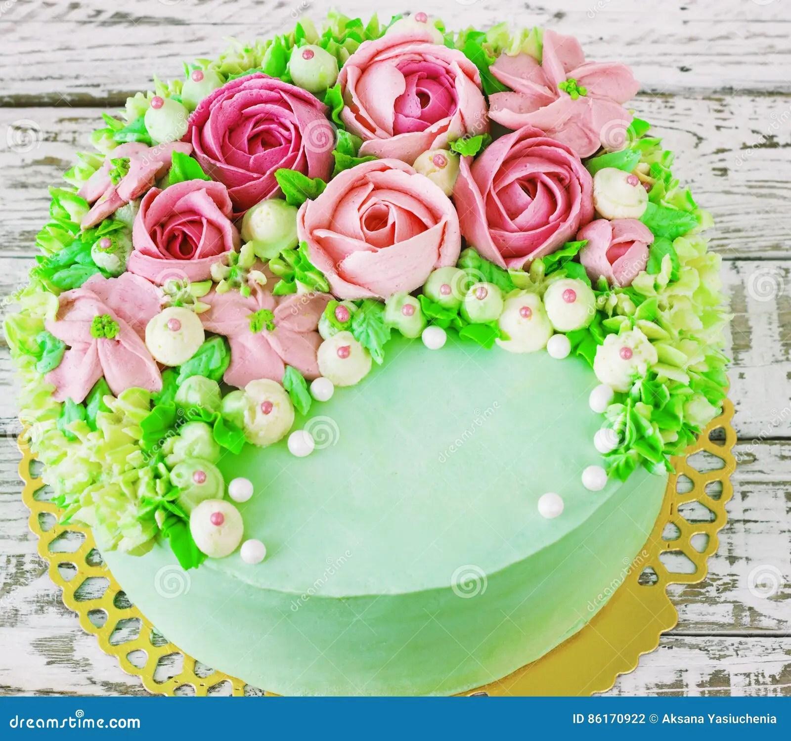 Background With Birthday Cake Cartoon Vector