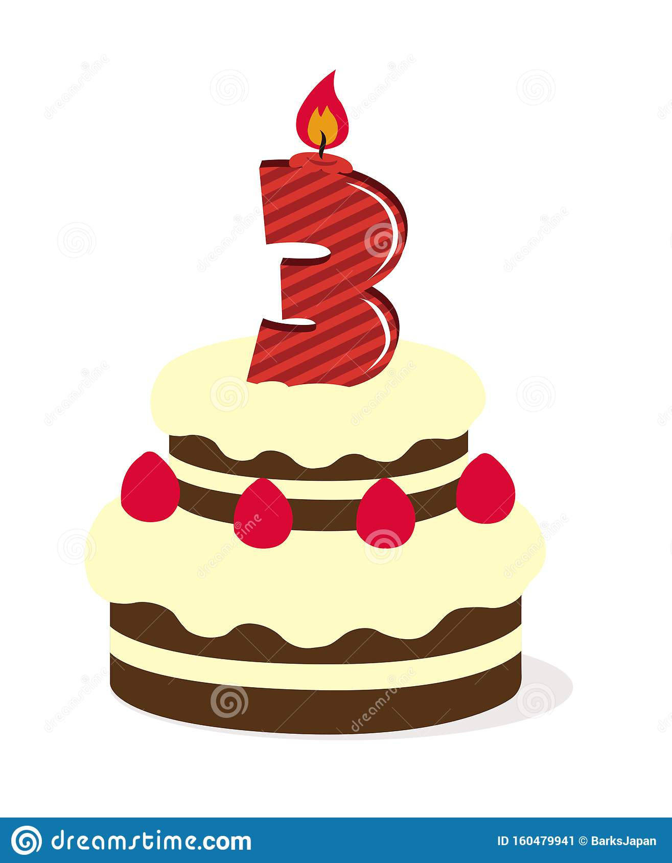 Birthday Cake Illustration 3 Years Old Stock Vector Illustration Of Colorful Sweet 160479941
