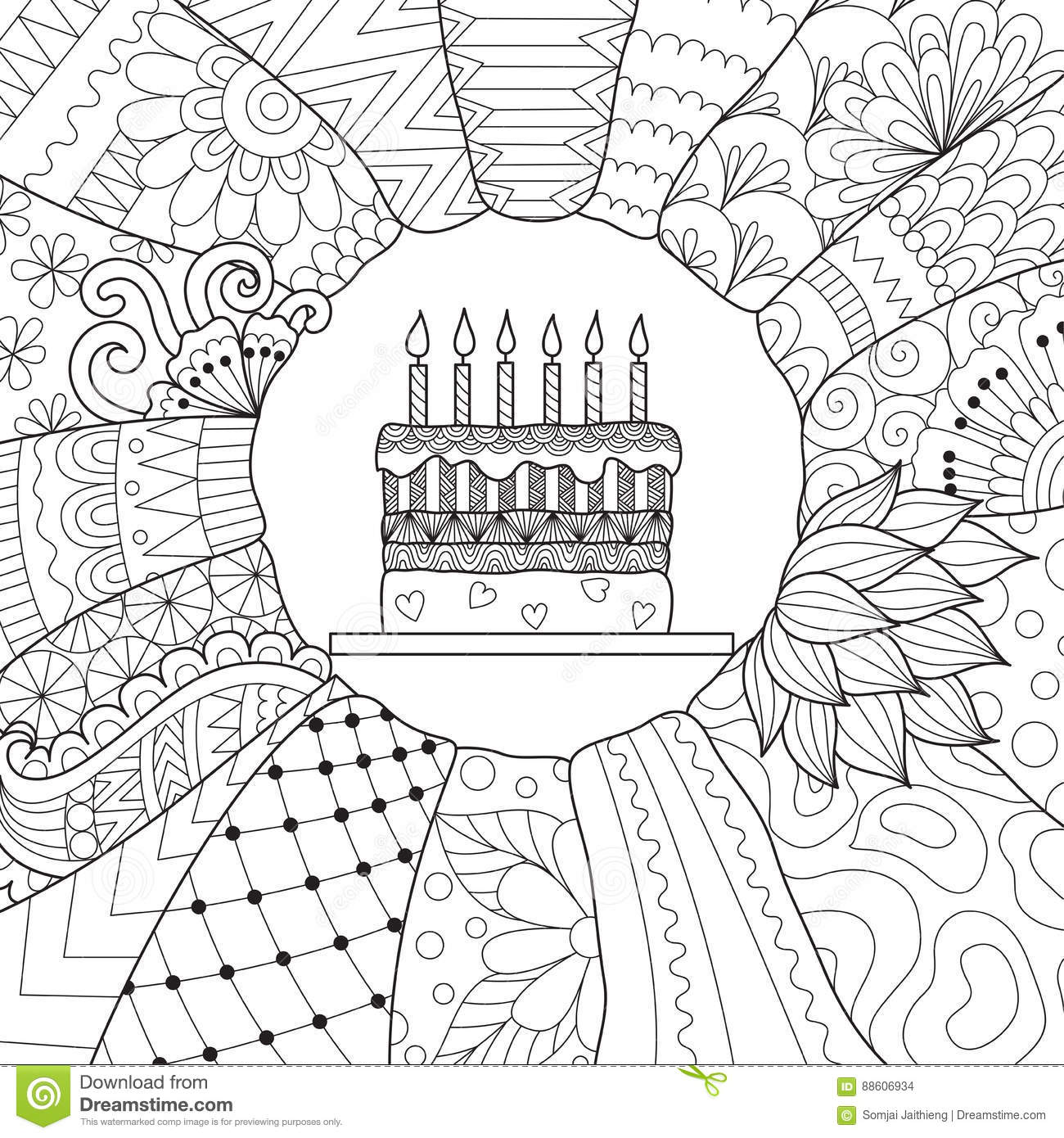 Birthday Cake Stock Vector Illustration Of Book Coloring