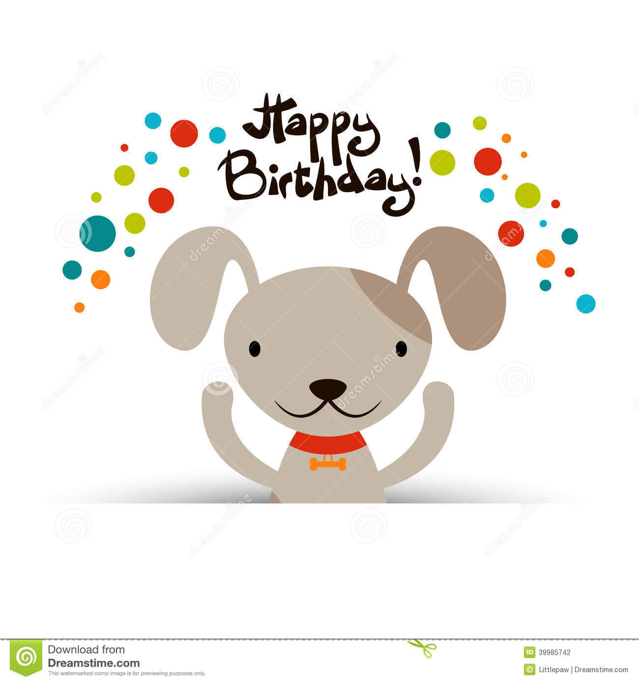 Birthday Card With Cute Dog Stock Vector Illustration Of Puppy Baby 39985742