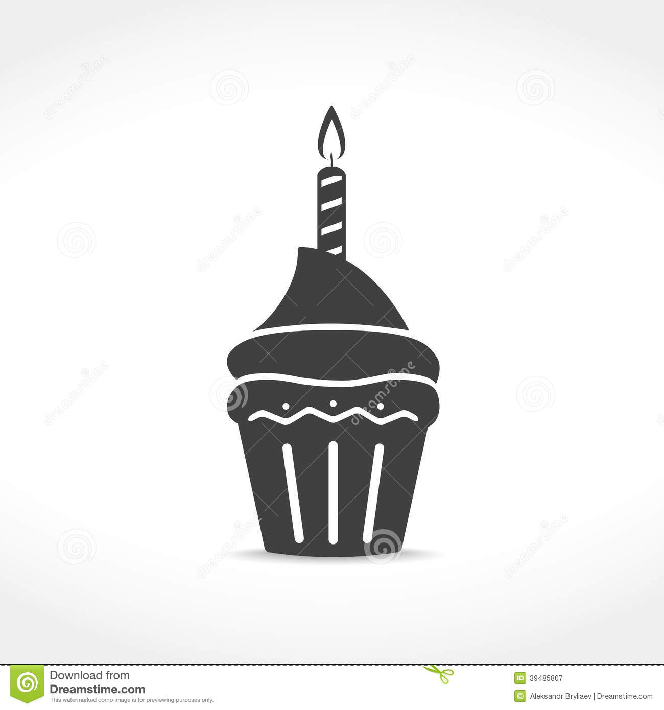 Birthday Cupcake Icon Stock Vector