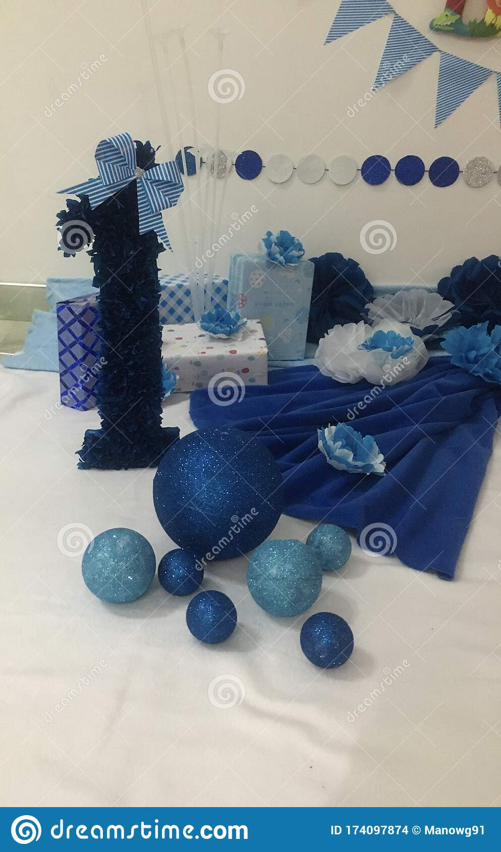 Birthday Decorations For Baby Boy Stock Photo Image Of Paper Arrangements 174097874