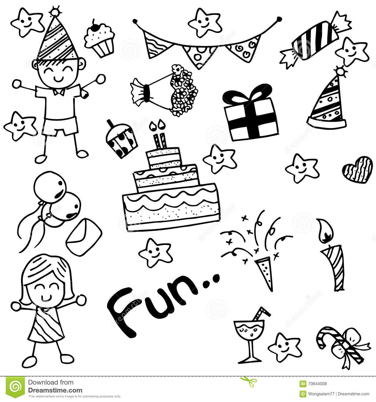 Birthday Doodle For Kids Stock Vector