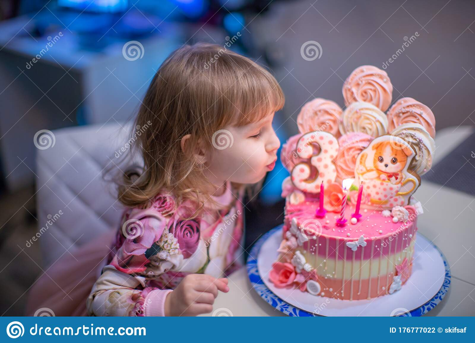 Birthday A Happy Little Girl Blows Out The Candles On The Birthday Cake Stock Photo Image Of Event Blow 176777022