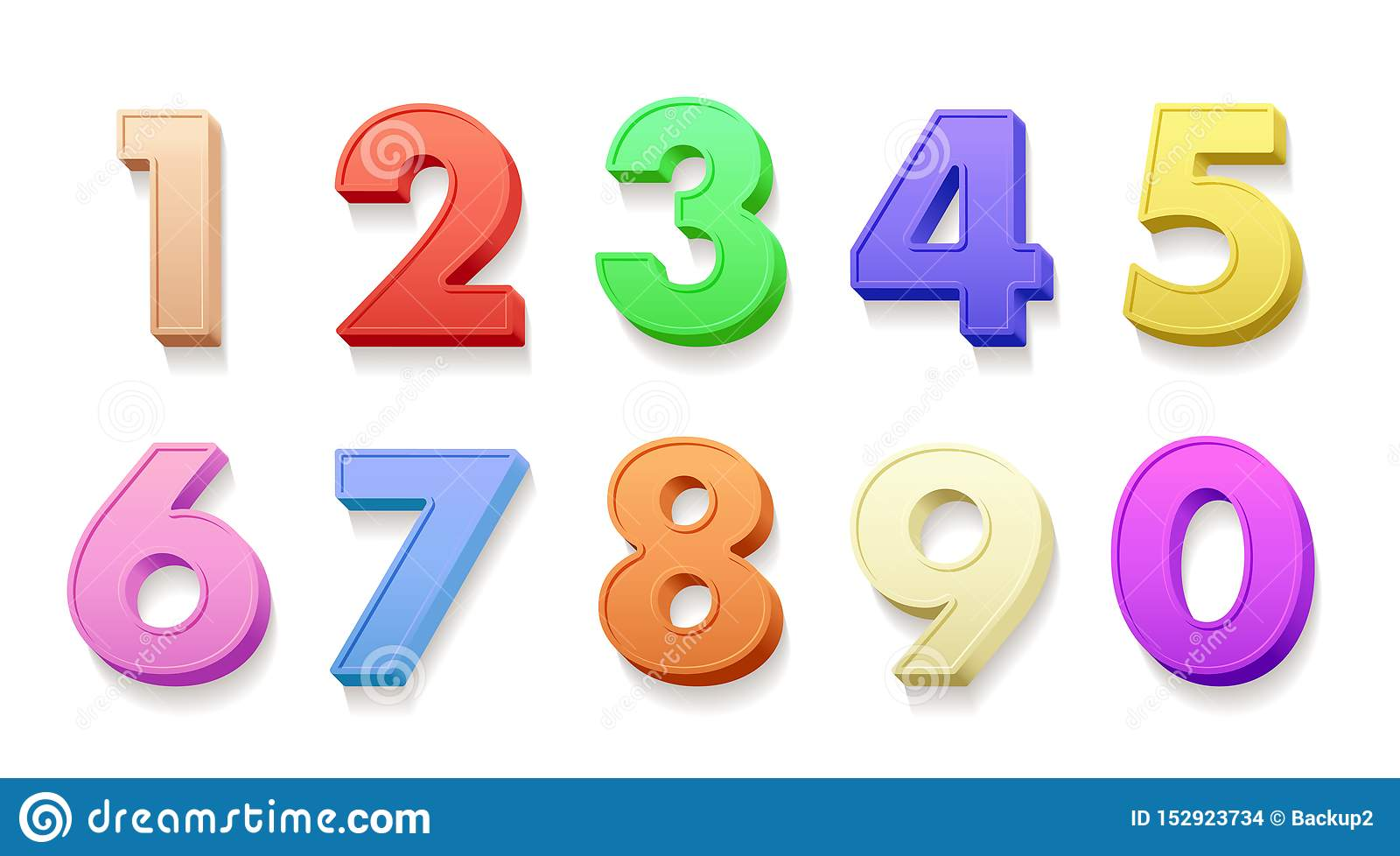 Birthday Numbers 3d Vector Illustrations Set Stock Vector