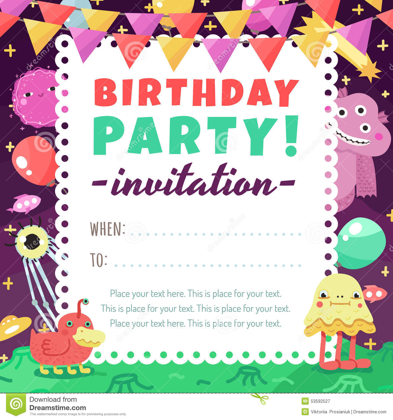 birthday party funny space invitation with cartoon aliens and monsters stock vector illustration of primitive monsters 53592527