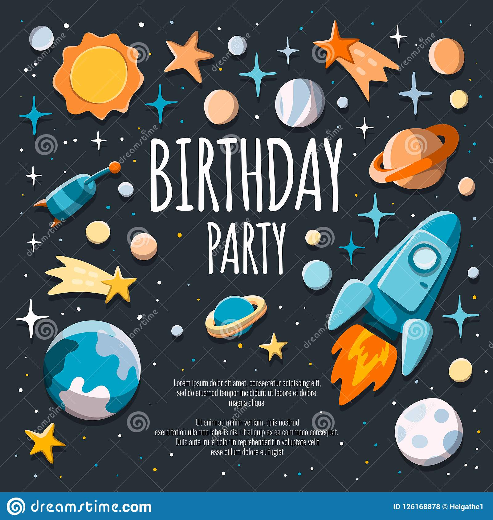 https www dreamstime com birthday party invitation flyer poster template background rocket planets starry background birthday party invitation image126168878