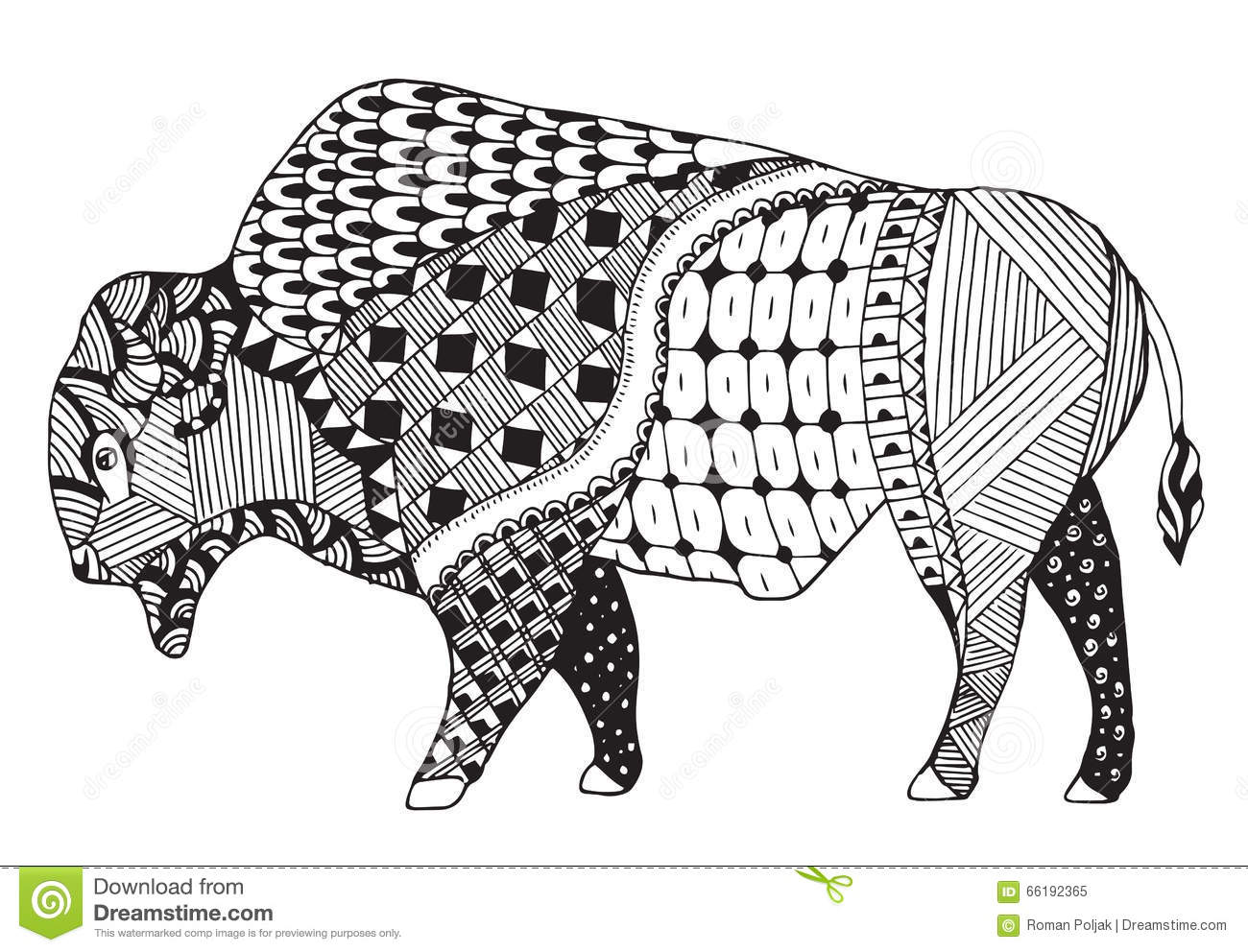 Bison Zentangle Stylized Vector Illustration Freehand