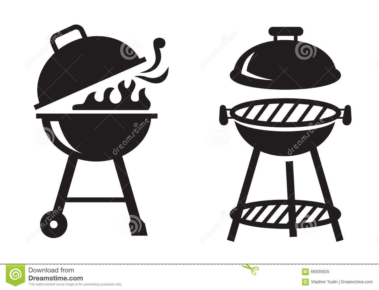 Black Bbq Grill Icons Stock Vector