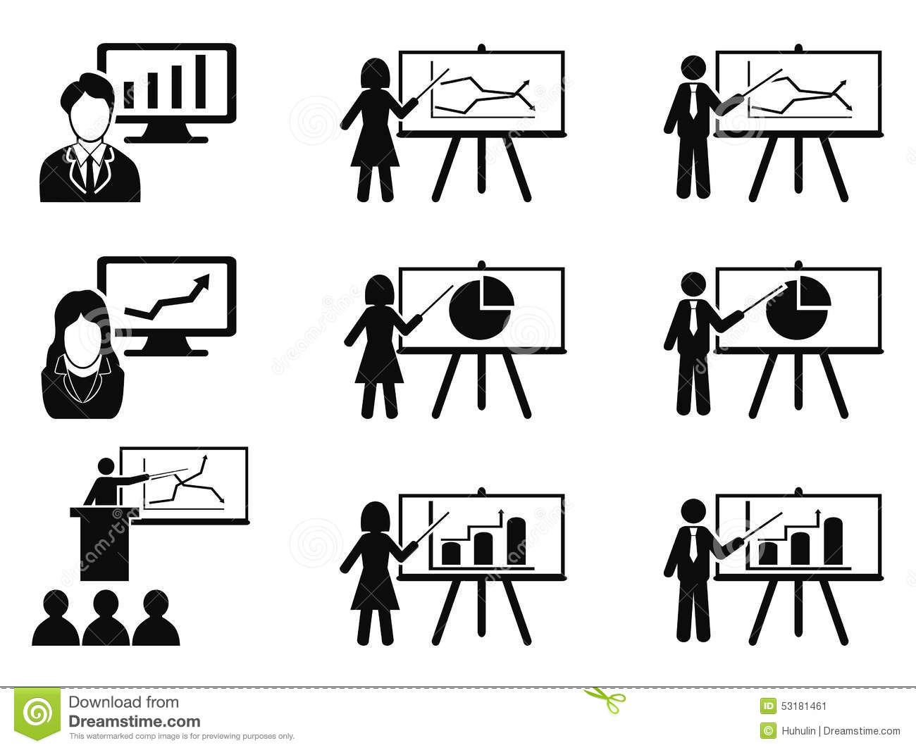 Black Business Lecture Seminar Meeting Presentation Icons Set Stock Vector