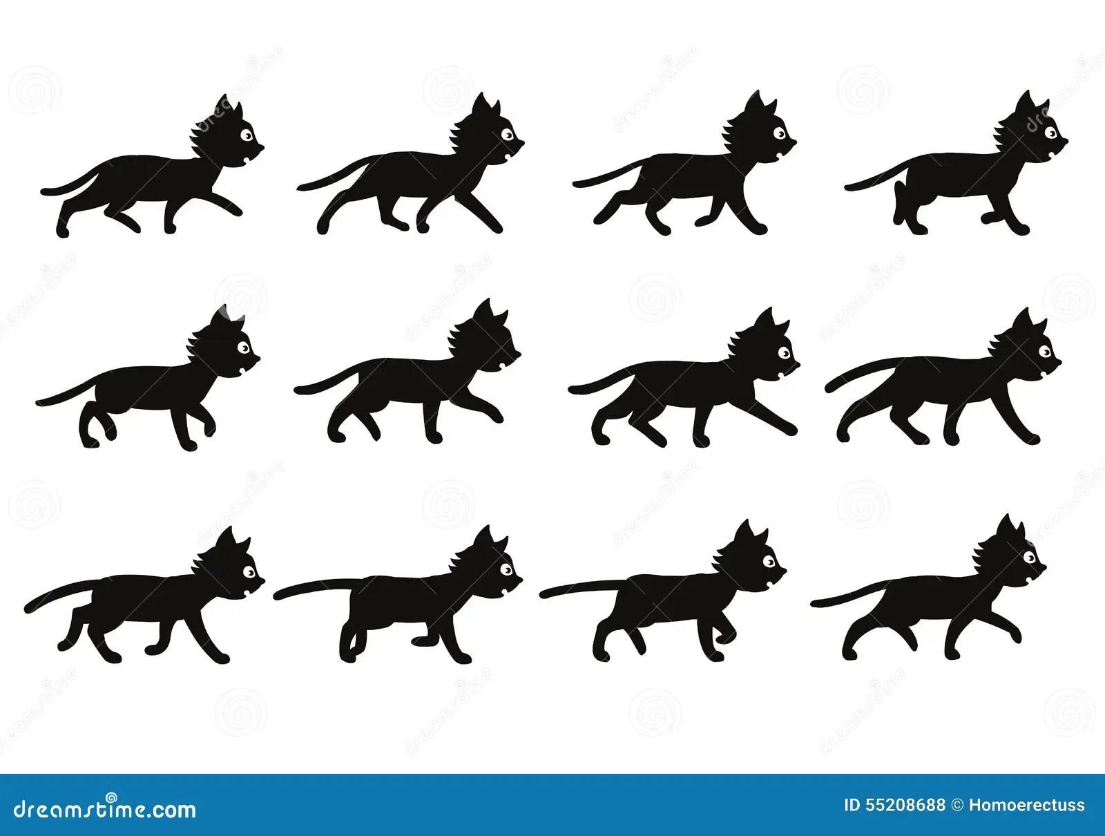 Black Cat Walking Sprite Stock Vector
