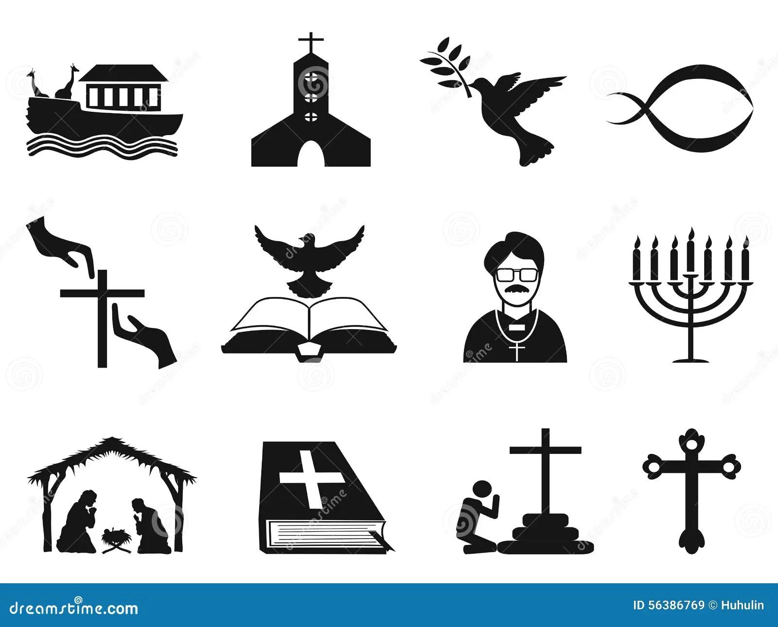 Black Christian Religious Icons Set Stock Vector